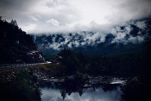 Fog, River, Trees, Forest, Norway, Road, Landscape