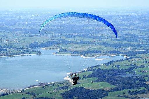Paragliding, Flying, Paraglider, Freedom, Lake, Blue