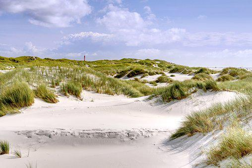 Beach, Dunes, Sand, Lighthouse, Reed, Clouds, Landscape