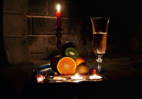Fireplace, Evening, Dark, Wine, Fruit, Romance, Light