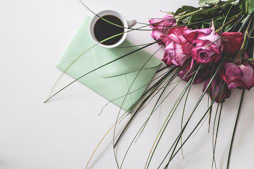 Desk, Letters, Coffee, Empty, Leaf, Roses, Romantic