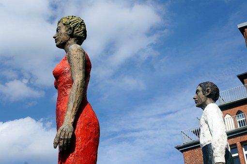 Hamburgensien, Statues, Sculpture, Pair
