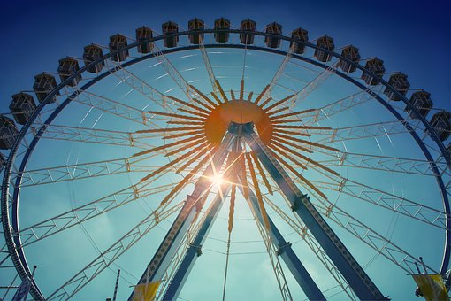Ferris Wheel, Sun, Rays, Perspective, Sky, Summer