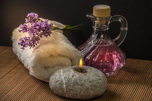 Wellness, Carafe, Purple, Candle, Stone, Towel, Rolled