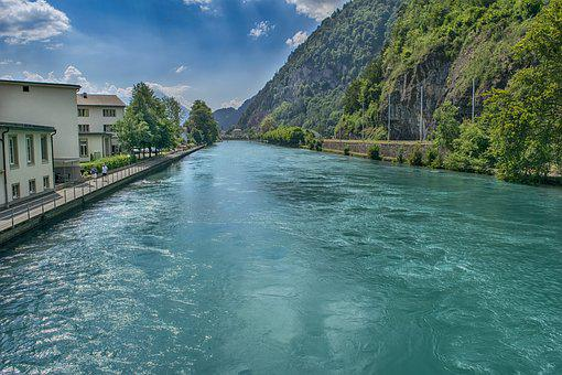 River, Water, Landscape, City, Interlaken, Switzerland