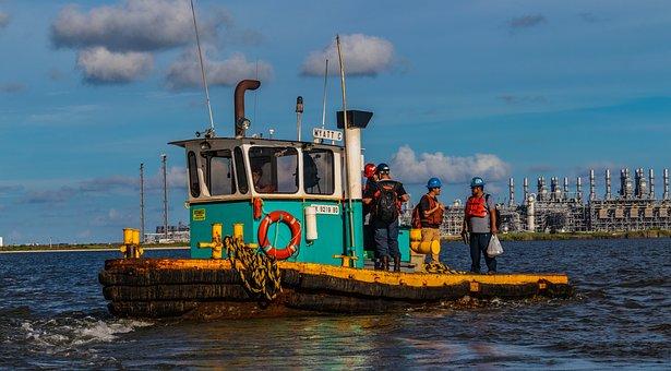 Tugboat, Harbor, Boat, Work Crew, Bay, Water Industrial