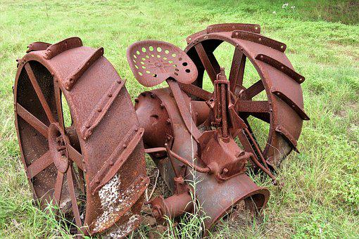 Antique, Rusted, Farm Machinery, Metal, Wheels, Field