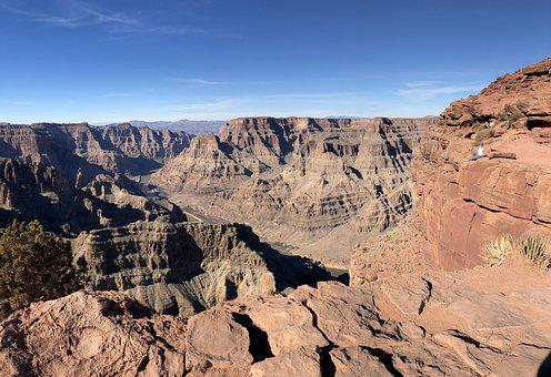 Grand Canyon, Arizona, America, Usa, Blue Sky, Boulders