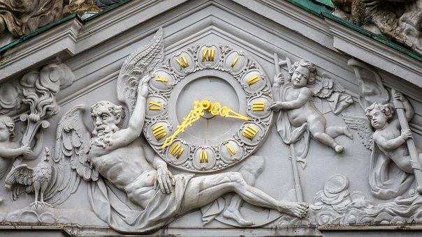 Clock, Sculpture, Man, Angel, Time, Pointer, Timepiece