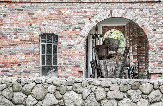 Stone Arch, Box Car, Natural Stone, Hay, Window