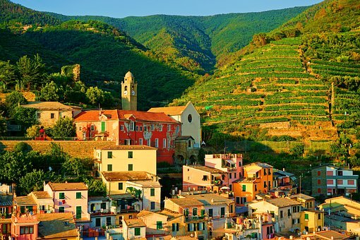 Village, Italy, Travel, Summer, Hill, Church, Liguria