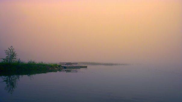 Lake, Fog, Water, Bank, Boat, Landscape, Rest, Mood