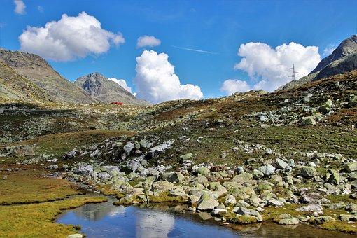Far View, Pond, The Alps, High, Mountains, Julierpass