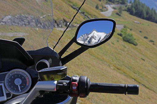 Grossglockner, Mountains, Motorcycle, Rear Mirror