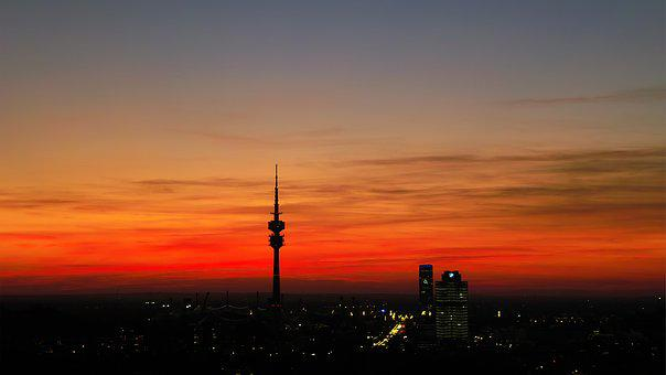 Munich, Evening Sky, Olympia Tower, Panorama, Dusk