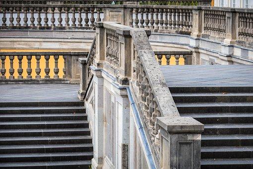Railing, Stairs, Gradually, Castle Park, Baroque