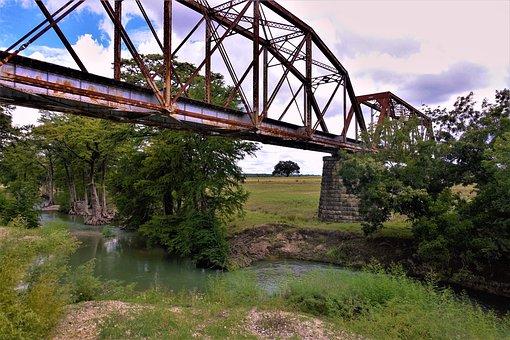 Bridge, Rusted, River, Rail Road, Crossing, Rural