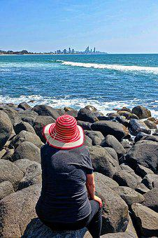 Coast, Rocks, Perspective, Contemplation, Red, Hat