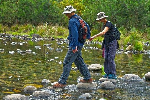 Trekking, Care, Balance, Rocks, Stream, Walking, Nature