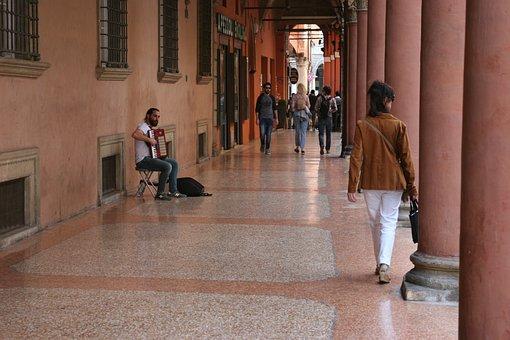 Music, Gallery, Pedestrian, Italy, Urban, Sidewalk