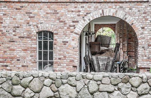 Stone Arch, Box Car, Natural Stone, Hay, Window