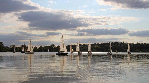 Lake, Sailing Boats, Water, Sail, Sky, Summer, Waters