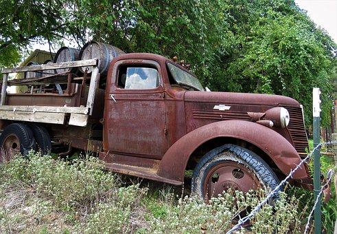 Antique, Truck, Wine Barrels, Abandoned, Farming