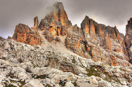 Fanes Wall, Dolomites, B, Rock, Landscape, Mountains
