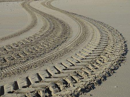 Beach, Sand, Traces, Sea, Side