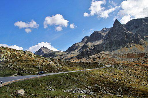Way, The Alps, Highway, High, Mountains, Meadow