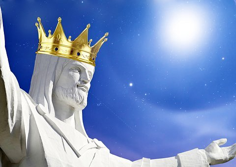 Jesus, Imperial Crown, Blue, Sky, White Gowns
