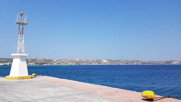 Kos, Greece, Port, Kaj, Sea, Sky, Bridge, Lighthouse