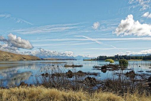 New Zealand, Lake Tekapo, South Island, Landscape, Lake