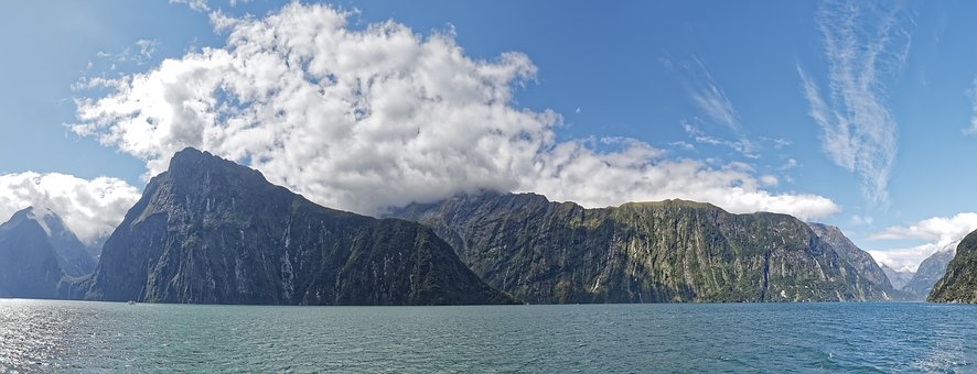 New Zealand, Milford Sound, Fjord, Panorama