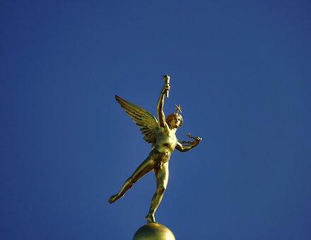 Genius, Bastille, Paris, France, Figure, Gold, Boy