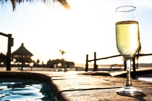 Pool, Sol, Beach, Champagne, Toast, Mar, Water, Summer