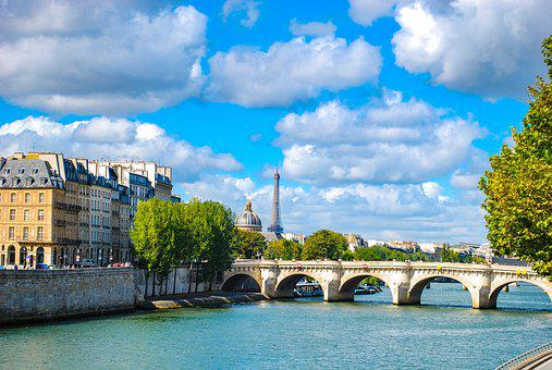 Paris, Bridge, River, Clouds, City, Seine, France