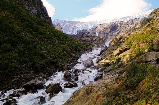 Glacier, Norway, Valley, River, Water, Ice, Stone