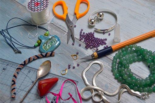 Scissors, Knife, Necklace, Beads, Spoon, Sharp, Tool