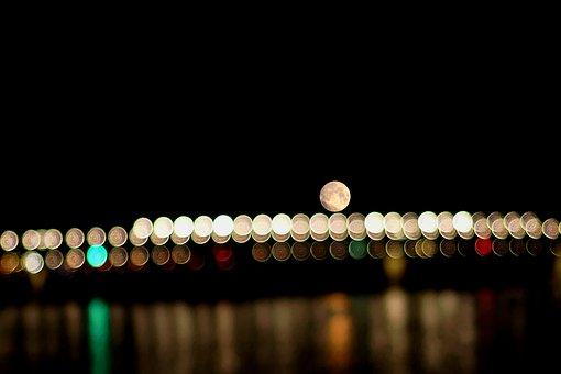 Night, Moon, Bridge, Full Moon, Moonlight, Sky, Dark