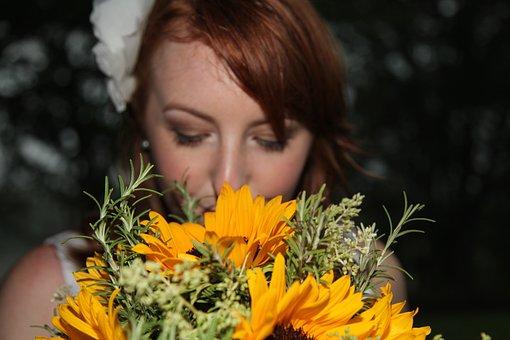 Bride, Sunflowers, Red Hair Bridge, Sunflower