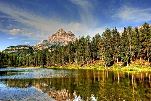 Lago Antorno, Three Zinnen, Dolomites, Landscape