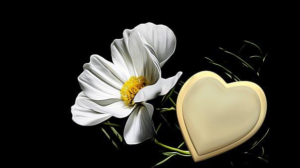 Trauerkarte, Golden Heart, Mourning, Hope, Floral Card