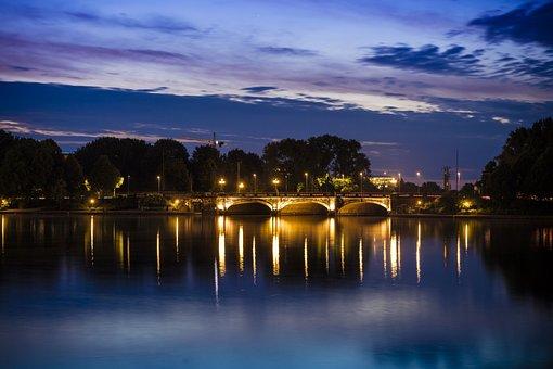 Hamburg, Bridge, Twilight, Mirroring, Water Reflection
