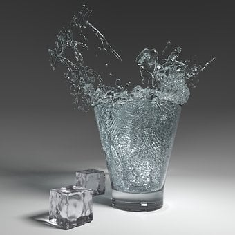 Water, Glass, Inject, Ice Cubes, Fresh, Drink, Liquid