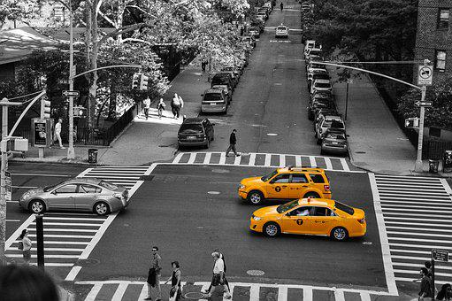 Taxi, Cab, Yellow, Transport, America, Usa, Taxicab