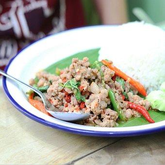 Basil Pork, Basil Leaves, Thaifood, Savory