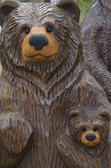 Bear, Wood, Mother And Child, Brown Bears, Carved