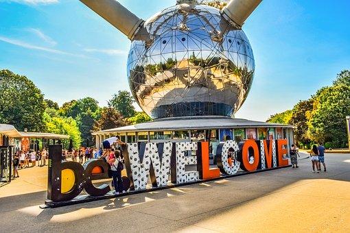 Belgium, Brussels, Atomium, Entrance, Welcome, Love