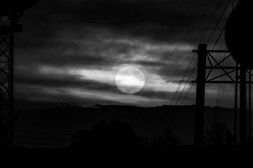 Black And White, Sunrise, Sunshine, Sunlight, Water